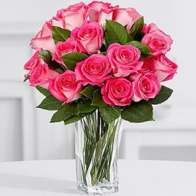 Shiny Pink Roses - FromYouFlowers.pk