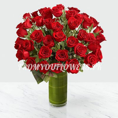Frill Red Roses - FromYouFlowers.pk