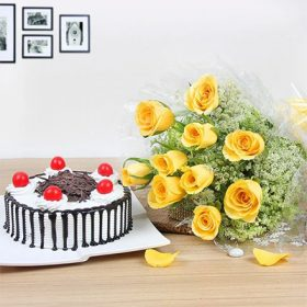 Send Combination of Cake and Flowers in Lahore - FromYouFlowers.pk