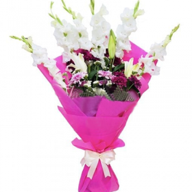 Pink & White Glad Pot - FromYouFlowers.pk