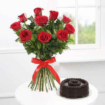 Roses with Black Choco - FromYouFlowers.pk