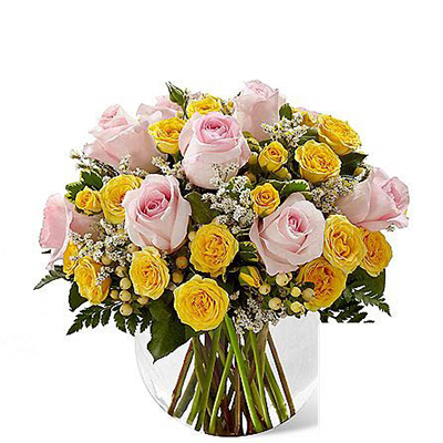 Delivery of Romance of Pink & Yellow in Pakistan - FromYouFlowers.pk