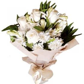White Butterflied Bouquet - FromYouFlowers.pk