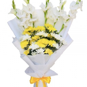 Yellow and White Bouquet - FromYouFlowers.pk