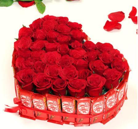 Heart Shape Flower Arrangements - FromYouFlowers.pk
